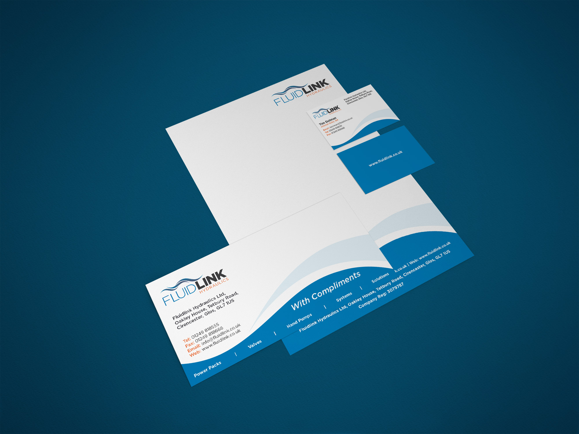 Fluidlink stationery design