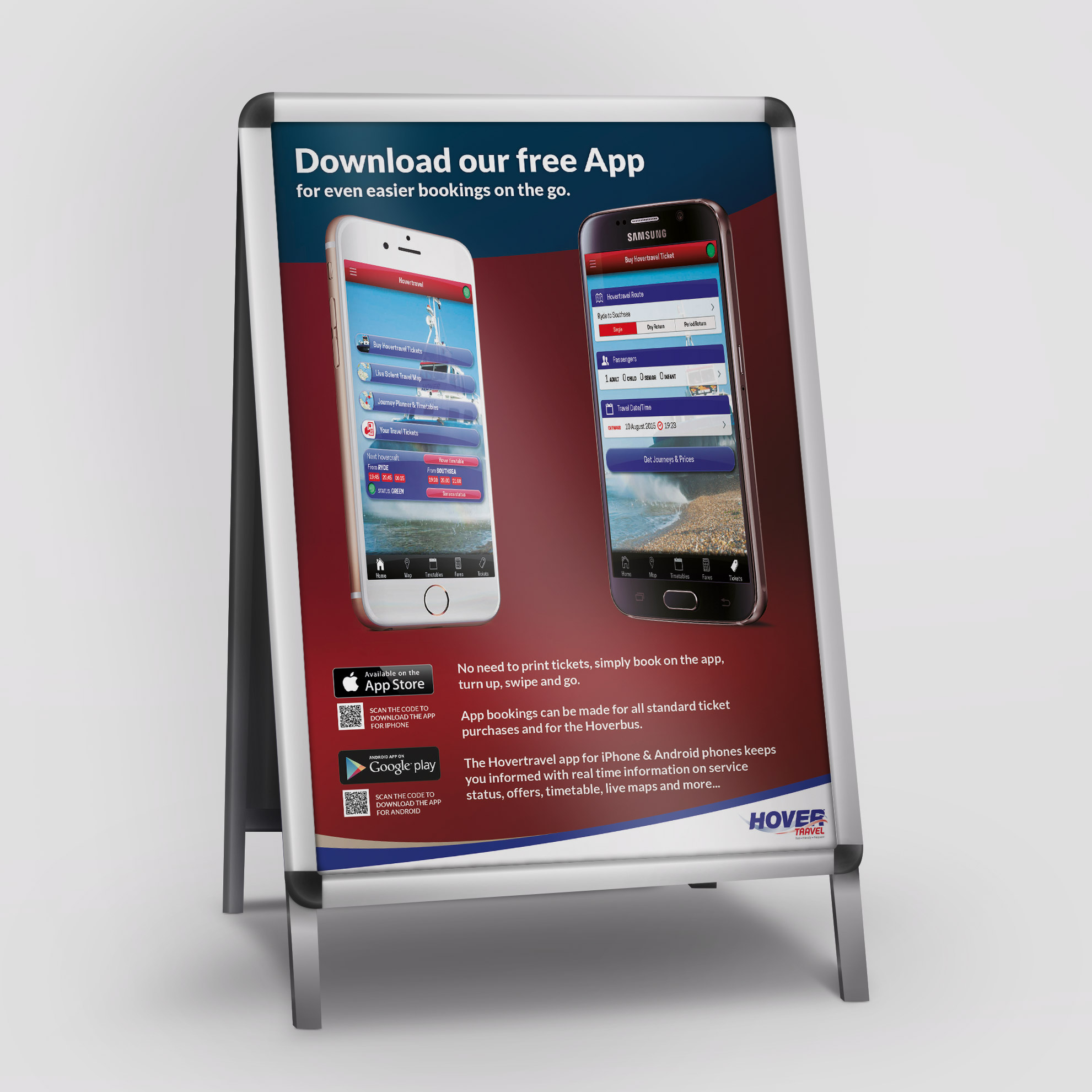 Hovertravel iPhone and Android app promotion A1 poster design