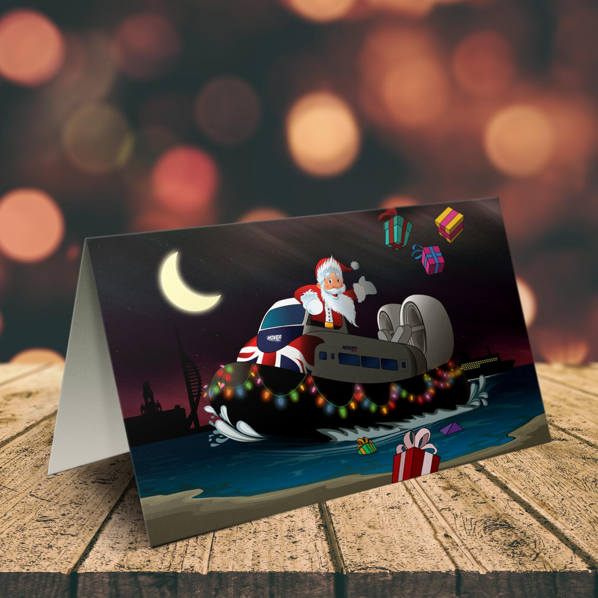 Hovertravel Christmas card illustration design