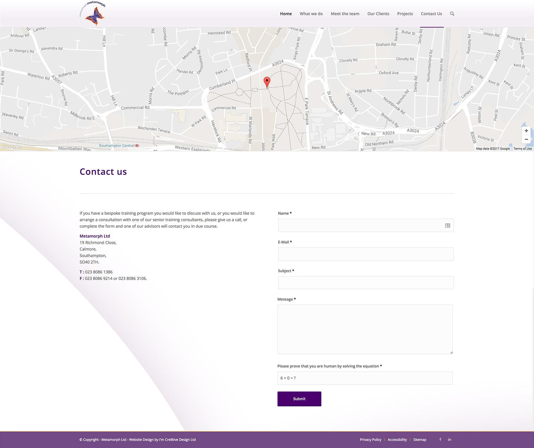 Metamorph Website - Contact Page Design