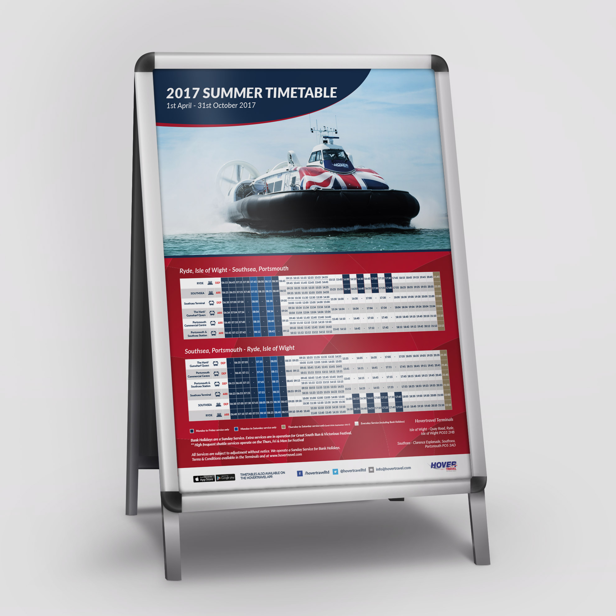 Hovertravel A1 Timetable Poster Design
