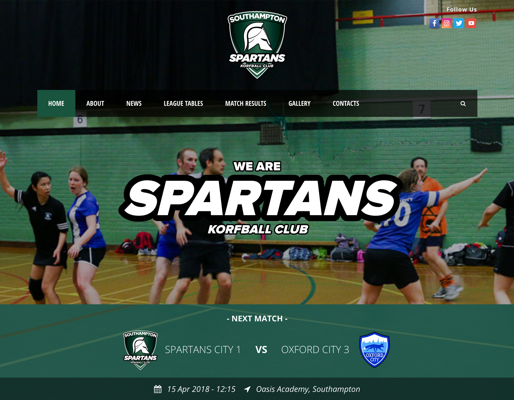 Spartans Korfball Website Homepage